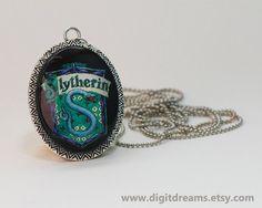 Mp06: Slytherin vintage pendant/keychain by DigitDreams on Etsy