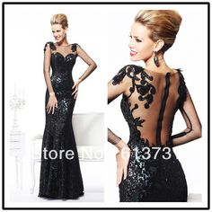 Wholesale - Sexy Long Sleeve Black Mermaid Evening Dress For Women Formal Gown with Open Back and Lace Details TE 92105 $179.00
