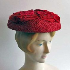 Red Straw Hat Vintage Madcaps New York by VintageBumbleBee
