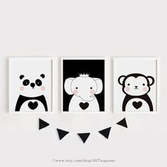 Imprimibles infantiles arte conjunto de 3 animales cartel