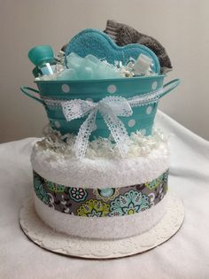 2 Tier Teal and Gray Towel Cake by flourlesscakes on Etsy