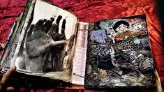 σελίδα για πειραγμένο βιβλίο, μίξη και αντιστοίχιση διαφορετικών στοιχείων, κολάζ και μαγνήτες Altered Books, Mixed Media, Collage, Artwork, Collages, Work Of Art, Auguste Rodin Artwork, Book Art, Artworks