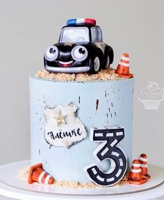 Cake Designs For Boy, Fondant Cake Designs, Fondant Cakes, Cupcake Cakes, 2 Year Old Birthday Cake, Truck Birthday Cakes, Chocolate Birthday Cake Decoration, Birthday Cake Decorating, Police Cakes