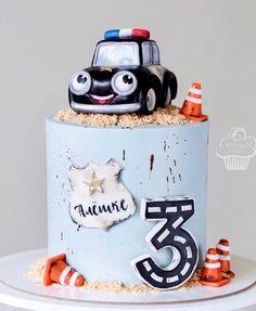 Cake Designs For Boy, Fondant Cake Designs, Fondant Cakes, Cupcake Cakes, 2 Year Old Birthday Cake, Truck Birthday Cakes, Chocolate Birthday Cake Decoration, Birthday Cake Decorating, Police Cakes