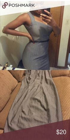 Knee length dress Very cute grey and black pin strip dress!! It is great for Sundays or even a day at work!! Dresses Midi