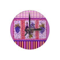 wine and grapes clock by Kristie Hubler at zazzle.com/fabricatedframes