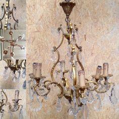 lustre rocaille louis XV en bronze dorée , six bras de lumières . XX siècle .