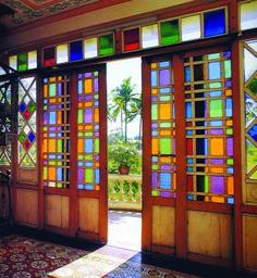 Trendy home interior doors stained glass 62 Ideas Exterior Doors With Glass, Sliding Glass Door, Interior And Exterior, Sliding Doors, Glass Doors, Interior Doors, Filipino Architecture, Philippine Architecture, Tropical Architecture