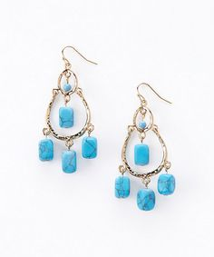 Another great find on #zulily! Gold & Turquoise Shavonne Drop Earrings by Stone Daisy #zulilyfinds