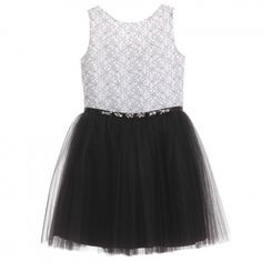 David Charles - Monochrome Lace & Tulle Dress | Childrensalon