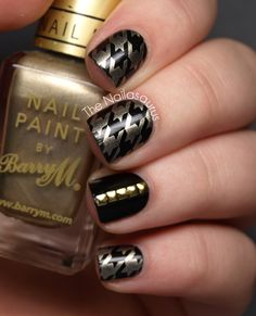 Houndstooth + studs. °°°°°°°°°°°°°°°°°°°°° Stamp Plate: Bundle Monster BM322 °°° Barry M Gold Foil and W7 Black °°°  Square Studs from Born Pretty Store °°°  Top Coat: Cult Nails - Wicked Fast °°°