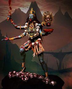 Paramchaintanya Men — kali by André Yamaguchi Kali Tattoo, Backpiece Tattoo, Kali Hindu, Hindu Art, Kali Goddess, Black Goddess, Mother Goddess, Indian Gods, Indian Art