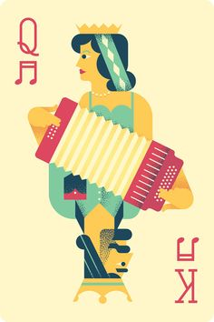 "Texas Folklife Illustration for the annual ""Texas Accordion Kings & Queens"" show by Oscar Morris. Creative Illustration, Graphic Design Illustration, Illustration Art, Kings & Queens, I Love Mondays, Affinity Designer, Deck Of Cards, Card Deck, Cubism"