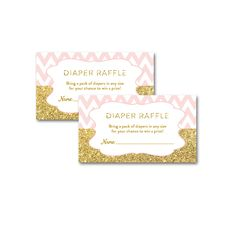 Baby Shower Blush Pink Chevron Gold Glitter Baby Girl - Insert Diaper Raffle Ticket - Instant Download Printable