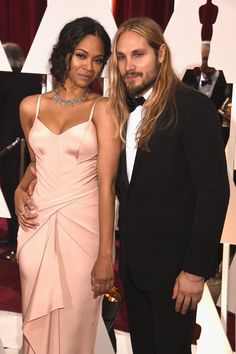 Pin for Later: Celebrity Couples Make the Oscars a Red-Hot Affair Zoe Saldana and Marco Perego
