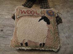 Primitive Punch Needle Sheep Wool & Floral Pin Keep by thefarmroad