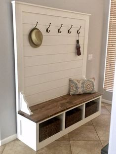 bench with storage Shiplap Hall Tree Bench Plans — the Awesome Orange Home, Cubby Bench, Bench Plans, Diy Home Decor, Diy Bench, Tree Bench, Hall Tree Bench, Diy Entryway Bench, Bench