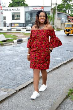 Oma Off-Shoulder Bell Sleeves Ankara Dress