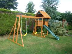 The Woodchester is a fabulous looking Climbing Frame with a 4ft platform and 8ft straight slide with a wave in it. To reach the play deck there is a slatted rock wall ladder. Another fantastic feature is the monkey bar swing beam. The 2 belt swings and trapeze bar simply clip onto the monkey bars when children want to play on them and unclip when they want to monkey around on the monkey bars.