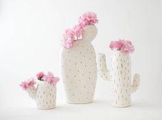 Set of 3 ceramic cactus shaped vases/ handmade vessel/ ceramic