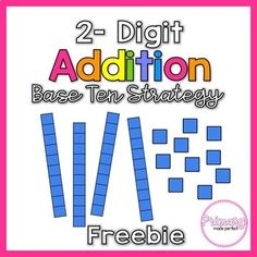 This double digit addition freebie is a great tool to teach 2 digit addition with the base 10 strategy! This strategy allows students to get a conceptual understanding of 2 digit addition and scaffolds their learning with a checklist on each page. This freebie includes: -2 Digit Addition Step-By-Step Poster -Addition Mat Center