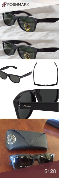 """Matte Ray-Ban New Wayfarer Classic Sunglasses Beautiful New Classic RayBan Wayferer matte black sunglasses with case and cleaning cloth! Like new! No damage or flaws! Reasonable offers on bundles and individual items always considered!❤️ """"Go back to where it all began with Ray-Ban New Wayfarer Classic sunglasses. Using the same iconic shape as the classic Wayfarer, these sunglasses offer an updated version that includes a smaller frame and slightly softer eye shape. Matte black frames add…"""
