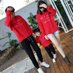 family matching clothes father mother and daughter son hoodies hooded long sleeve letter printed fleece thick hoodies family top