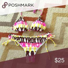 Roxy String Bikini Large Roxy Triangle Top String Bikini- previously loved but in great condition. Roxy Swim Bikinis