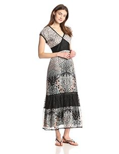 V-neck dress, This Anna Sui maxi dress is complete with all the bells and whistles- tiered layers, mixed prints, and lace trim