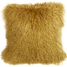 Pillow Decor Mongolian Sheepskin Soft Gold Throw Pillow ($100) ❤ liked on Polyvore featuring home, home decor, throw pillows, textured throw pillows and pillow decor