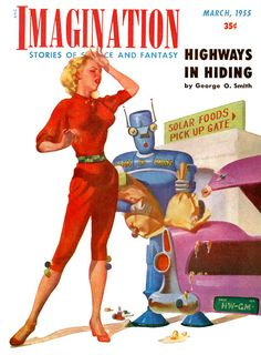"""Come on, Robot. It's a binary choice """"paper or plastic"""" and you couldn't get that right? - Imagination 1955, March"""