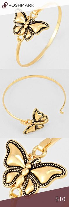 "Butterfly Charm Bangle • Color : Gold • Theme : Butterfly  • Size : 1 1/4"" H, 2 1/4"" D  • Butterfly Charm Bangle Bracelet Jewelry Bracelets"