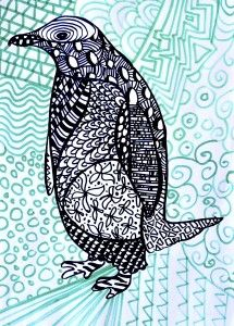 Zentangle Animals Outlines, they work in b&w zentangles inside, and one cool color in background... notice path marks.