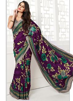 Printed Purple Jacquard Saree. Must-have for this spring.
