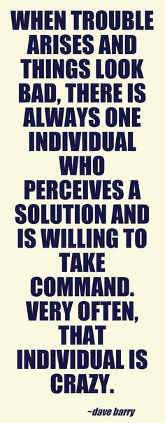 When trouble arises and things look bad, there is always one individual who perceives a solution and is willing to take command. Very often, that individual is crazy.  —Dave Barry