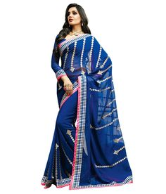 Shop online blue georgette party wear saree online, this party wear saree is perfect for any occasion, this party wear saree is prettified with lace border, resham embroidery and zari work which gives trendy look. Indian Party Wear, Indian Wedding Outfits, Indian Outfits, Indian Clothes, Sambalpuri Saree, Georgette Sarees, Lehenga, Festival Wear, Festival Outfits