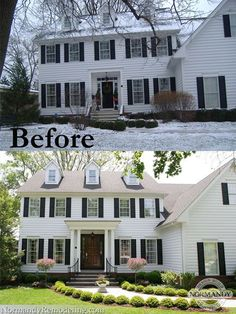 House Exterior Before And After Porch Addition Curb Appeal For 2019 Colonial House Exteriors, Colonial Exterior, Exterior Design, Colonial House Remodel, Modern Colonial, Traditional Exterior, Style At Home, House With Porch, House Front