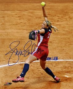 Jennie Finch Autographed/Hand Signed Olympics Team USA 8x10 (Red Jersey Pitching Windup) with Team USA Inscription