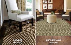 HGTV HOME Flooring by Shaw Floors Nirvana Brown area rug and Luna de Luna Taupe area rug
