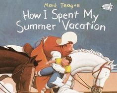 How I Spent My Summer Vacation  Great to use at the beginning of the school year. Read the story, have students write recounts of an event from their summer (real or pretend, or as a 2 truths and a lie). Have students share their work and let the class guess whether it was true or false or which parts were true and which were false.