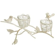 Bird Nest Double Tealight Holder - sweet for garden tea tables. #teabuds