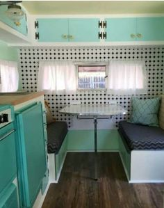 Interior of a vintage camper, 1960s