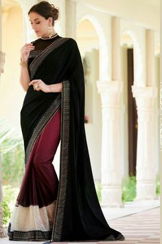 #Black and #burgundy crepe & satin dazzling saree with antique #gold & #white border -SR10822