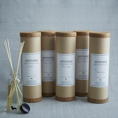 """Apotheke Diffusers Soothing scents. Apotheke scented diffusers are crafted in Brooklyn from calming fragrance oils. Reeds release the scents gently and evenly in bathrooms, bedrooms and living rooms.Fragrance oil. Reed diffusers, glass container. 2""""diam. x 5.5""""h. Scents: Cedar, Lavender, Jasmine, Lime Lavender, Chai Tea. Made in the USA. THB1128.00"""