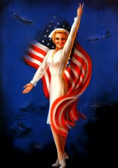 TITLE: Patriot Girl  DATE: 1942    Billy De Vorss (1908-1985)    Alone among the pin-up artists in being entirely self-taught, Billy De Vorss sold his first three published pin-ups to the Louis F. Dow Calendar Company in St. Paul about 1933. Until that time, he had been working as a teller in a bank in St. Joseph, Missouri.    There he had met the stunning woman, Glenna, who became his wife and first official model.