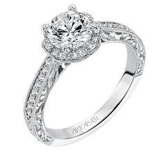Artcarved Bridal: ALTHEA, 31-V554, Vintage inspired diamond floral halo engagement ring with hand engraved milgrain detail and prong set diamond shank #ArtCarvedBridal