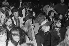 And rock star guests mixed in the crowd. Here's The Beatles' John Lennon, Ringo Starr and George Harrison alongside Pattie Boyd. | 33 Glorious Photos Of The Isle Of Wight Festival In The '60s And '70s