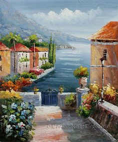 """Elegant Wholesale Wall Decor Painting Reproduction Mediterranean With Ocean Oil Painting, Size: 20"""" x 24"""", $83. Url: http://www.oilpaintingshops.com/elegant-wholesale-wall-decor-painting-reproduction-mediterranean-with-ocean-oil-painting-1905.html"""