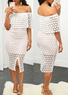 Off the Shoulder Lace crochet White Sheath Dress  on sale only US$33.95 now, buy cheap Off the Shoulder Lace crochet White Sheath Dress  at liligal.com