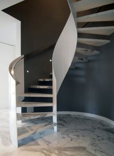 Stairs - curved steel plate and stone treads Circle Stairs, Round Stairs, Steel Stairs, Columbus Circle, Modern Stairs, Stair Steps, Stairway To Heaven, Grand Designs, Stairways